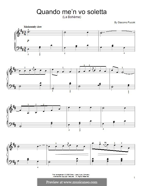 Quando men vo (Musetta's Waltz): facil Para piano (D maior) by Giacomo Puccini