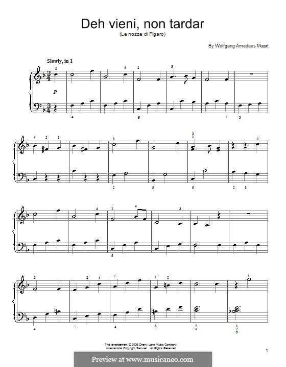 Deh, vieni, non tardar: Para Piano by Wolfgang Amadeus Mozart