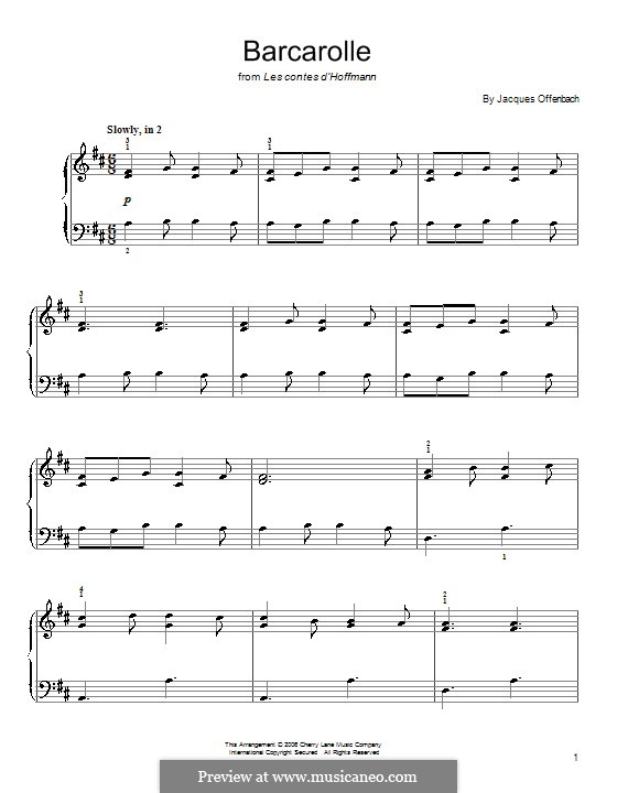Barcarolle (Printable Scores): Version for easy piano (with fingering) by Jacques Offenbach
