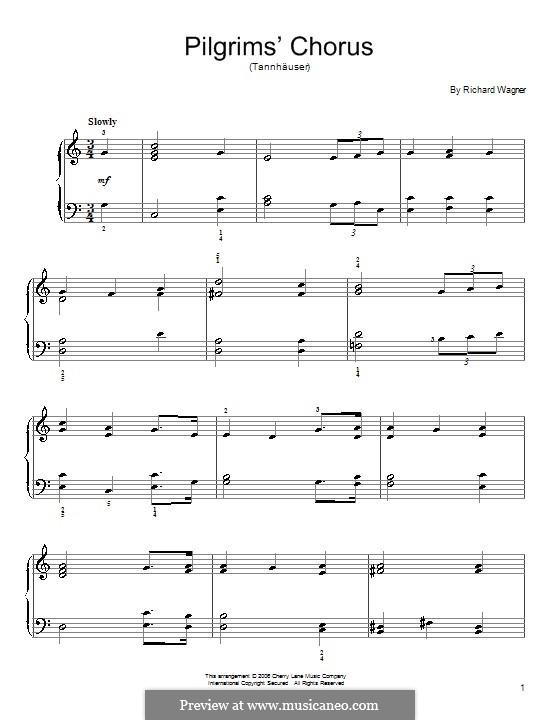 Choir of Pilgrims: Para Piano by Richard Wagner