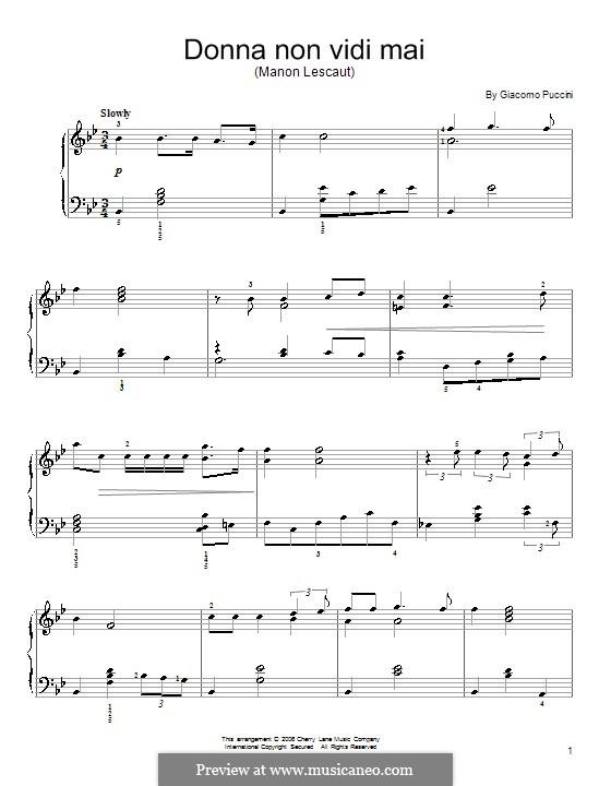 Manon Lescaut : Donna non vidi mai, for piano by Giacomo Puccini