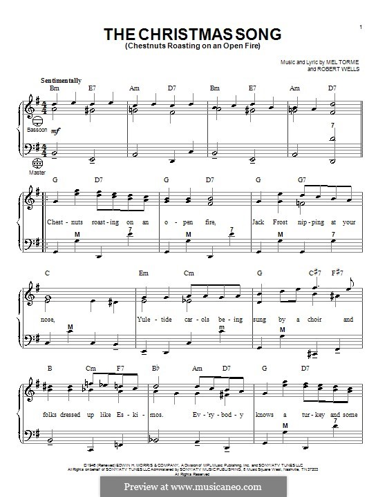 The Christmas Song (Chestnuts Roasting on an Open Fire): para acordeão by Mel Tormé, Robert Wells