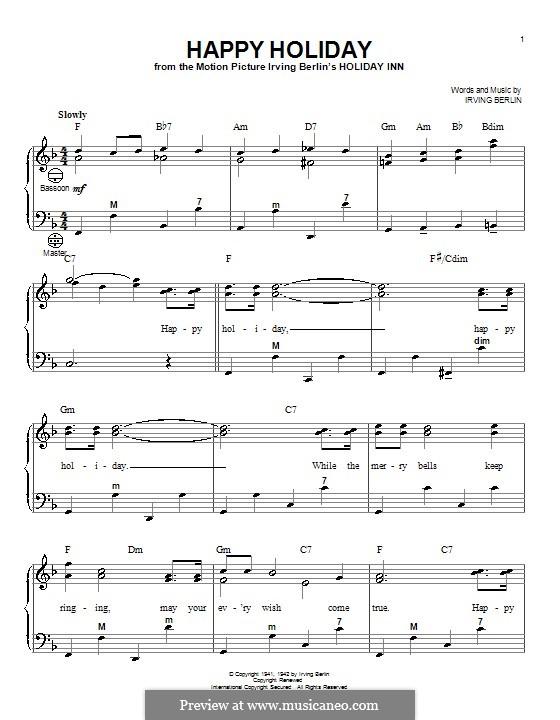 Happy Holiday: para acordeão by Irving Berlin