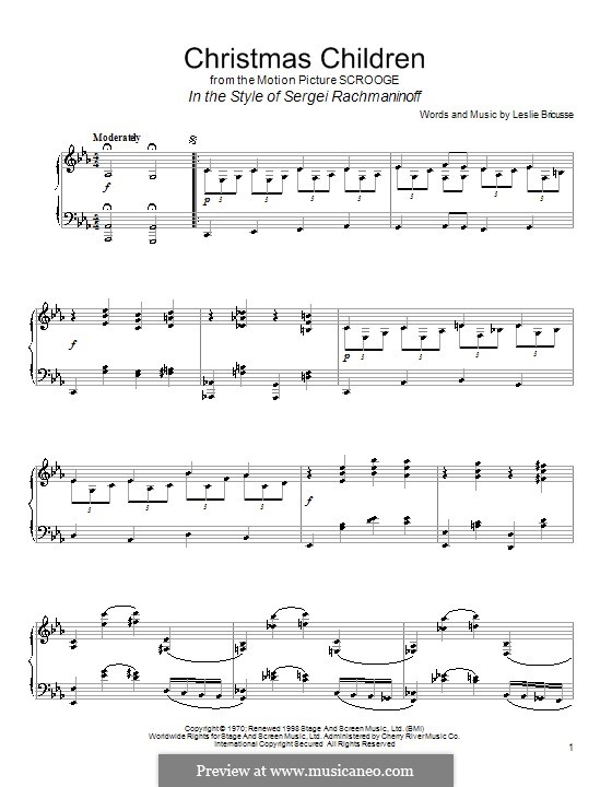 Christmas Children (from Scrooge): Para Piano by Leslie Bricusse
