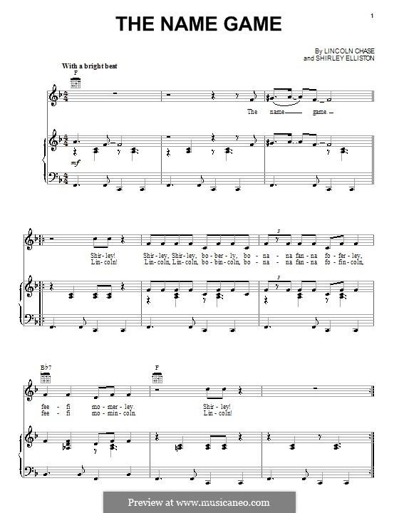 The Name Game (Shirley Ellis): Para vocais e piano (ou Guitarra) by Lincoln Chase, Shirley Elliston