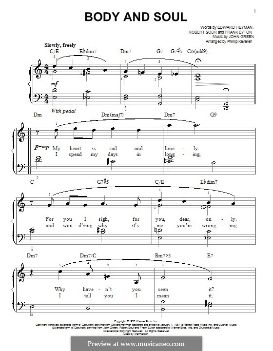 Body and Soul: For piano (Sarah Vaughan) by John W. Green