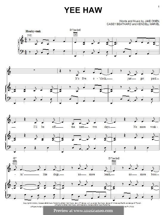 Yee Haw (Jake Owen): Para vocais e piano (ou Guitarra) by Casey Beathard, Kendell Marvel
