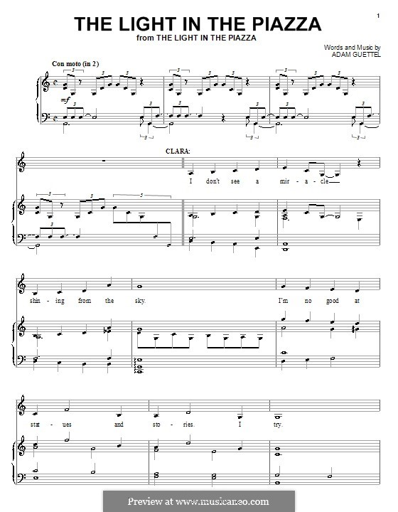 The Light in the Piazza: Para vocais e piano (ou Guitarra) by Adam Guettel