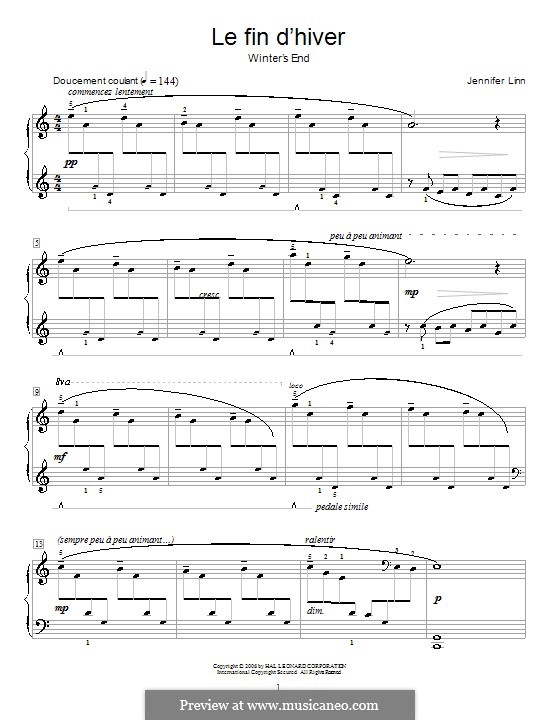 Le fin d'hiver (Winter's End): Para Piano by Jennifer Linn