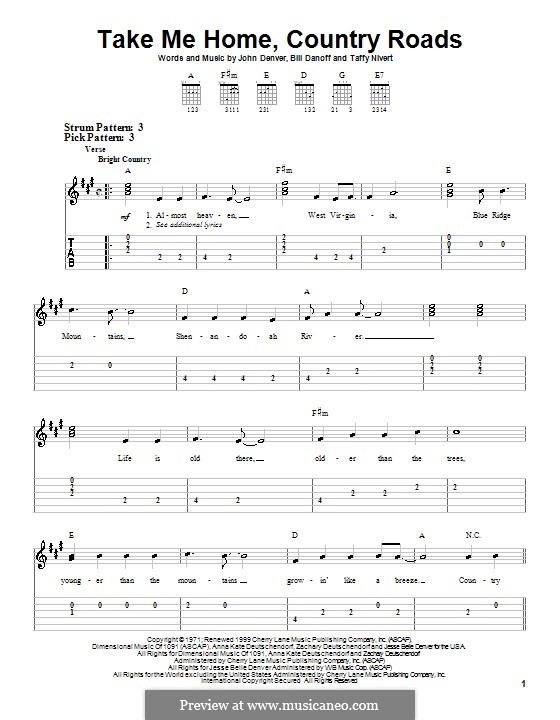 Take Me Home, Country Roads: Para guitarra (versão facil) by Bill Danoff, John Denver, Taffy Nivert