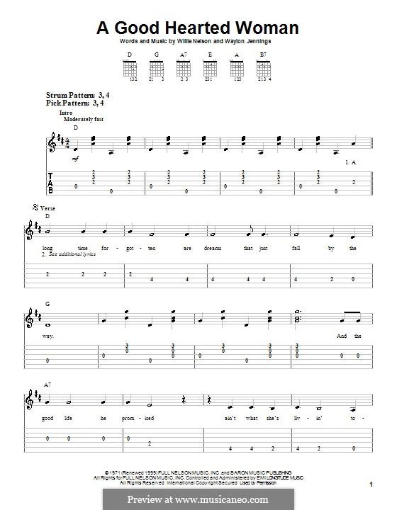A Good Hearted Woman: Para guitarra (versão facil) by Waylon Jennings, Willie Nelson