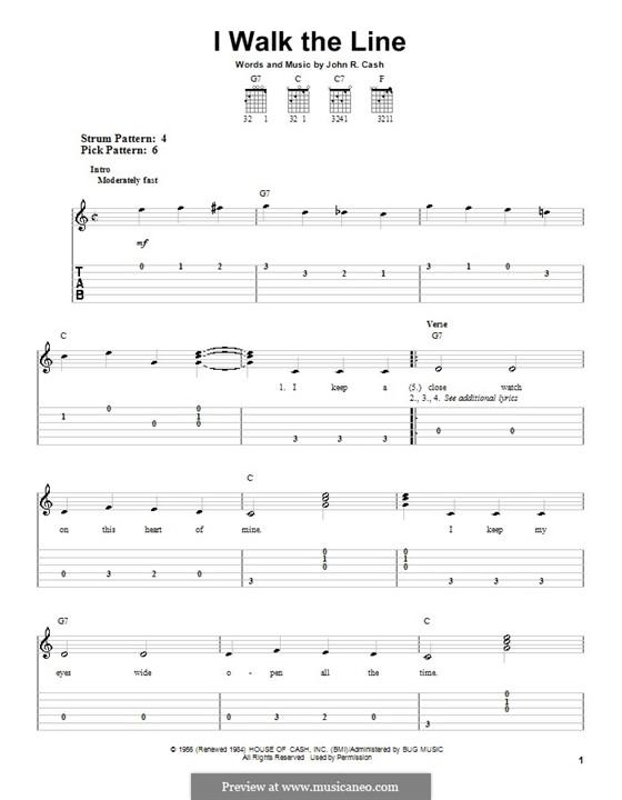 I Walk the Line: facil para guitarra by Johnny Cash