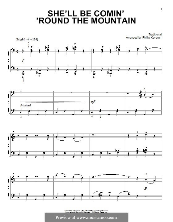 She'll Be Comin' 'Round the Mountain: Para Piano by folklore
