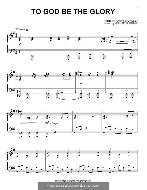 To God be the Glory: Para Piano by William Howard Doane