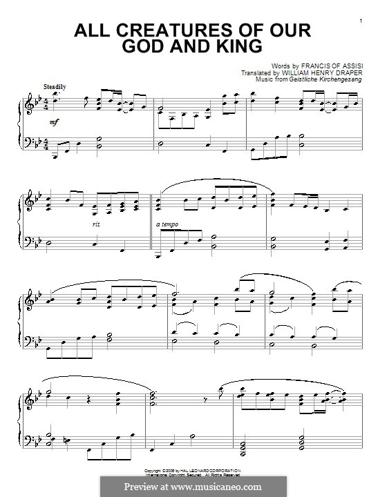 All Creatures of Our God and King: Para piano (B flat maior) by Unknown (works before 1850)