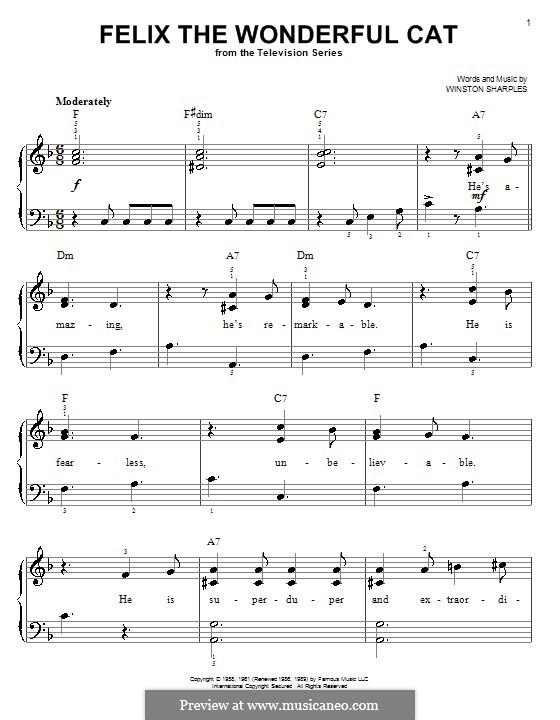 Felix the Wonderful Cat: Facil para o piano by Winston Sharples