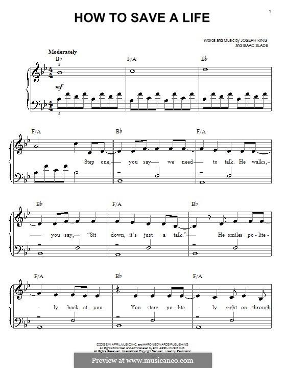 How to Save a Life (The Fray): Facil para o piano by Isaac Slade, Joseph King