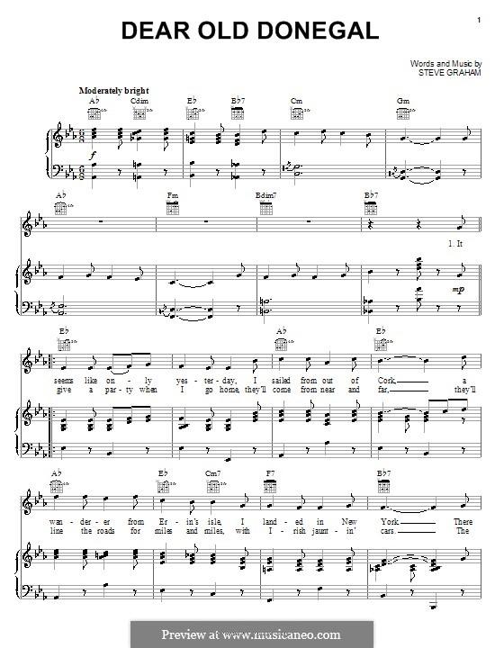 Dear Old Donegal: Para vocais e piano (ou Guitarra) by Steve Graham