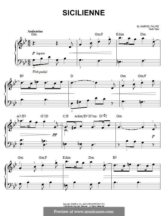 Sicilienne for Cello and Piano, Op.78: versão facil para piano by Gabriel Fauré