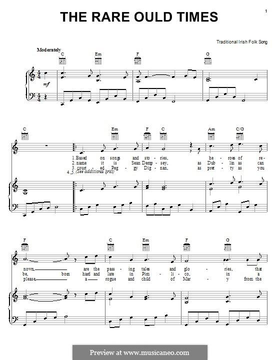 The Rare Ould Times: Para vocais e piano (ou Guitarra) by folklore