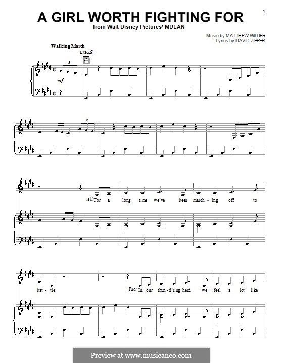 A Girl Worth Fighting for: Para vocais e piano (ou Guitarra) by Matthew Wilder