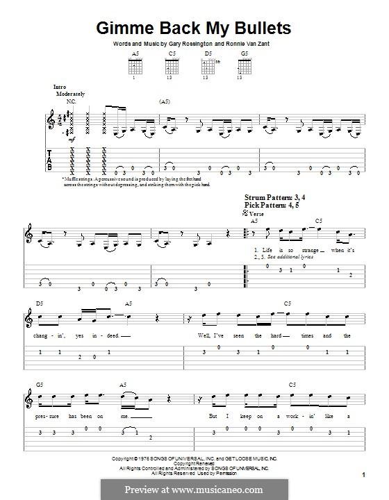 Gimme Back My Bullets (Lynyrd Skynyrd): Para guitarra (versão facil) by Gary Rossington, Ronnie Van Zant