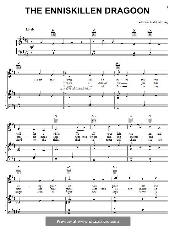The Enniskillen Dragoon: Para vocais e piano (ou Guitarra) by folklore