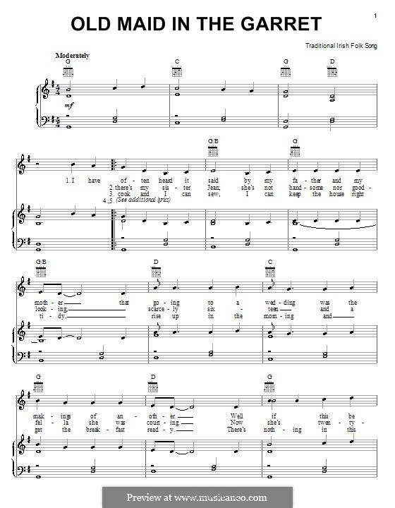 Old Maid in a Carret: Para vocais e piano (ou Guitarra) by folklore