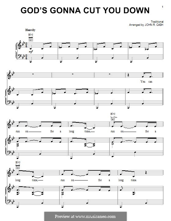 God's Gonna Cut You Down: Para vocais e piano (ou Guitarra) by folklore