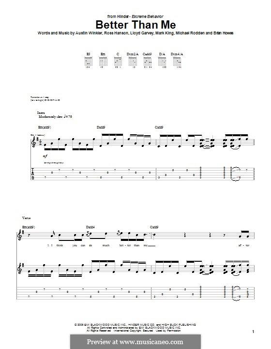 Better Than Me (Hinder): Para guitarra com guia by Austin Winkler, Brian Howes, Lloyd Garvey, Mark King, Michael Rodden, Ross Hanson