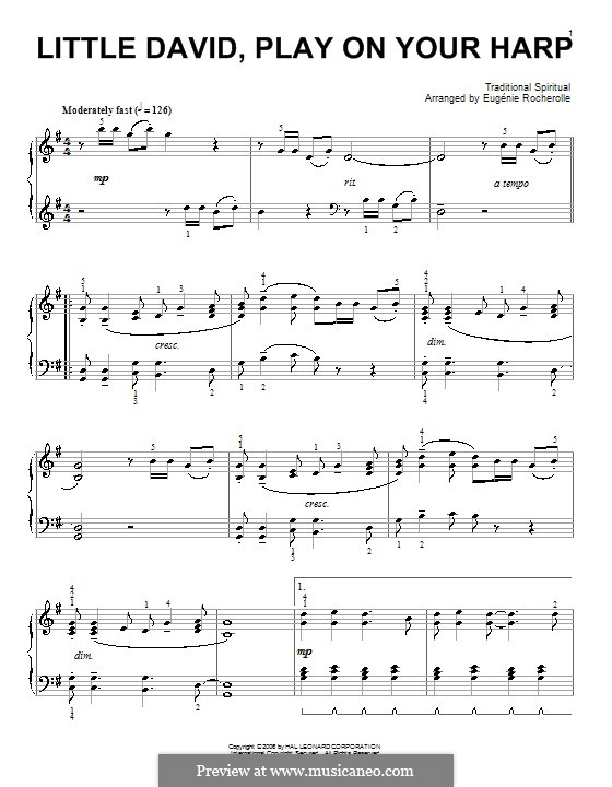 Little David, Play on Your Harp: Para Piano by folklore