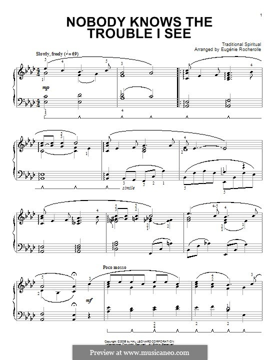 Nobody Knows the Trouble I've Seen: Para Piano by folklore