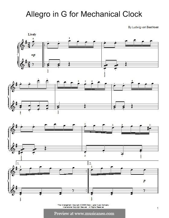 Allegro in G Major for Mechanical Clock: Allegro in G Major for Mechanical Clock by Ludwig van Beethoven