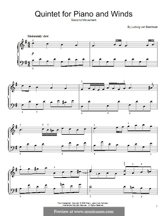 Quintet for Piano and Winds in E Flat Major, Op.16: Movimento II (Tema). Versão para piano by Ludwig van Beethoven