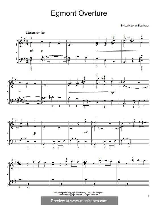 Egmont, Op.84: Overture, for easy piano by Ludwig van Beethoven