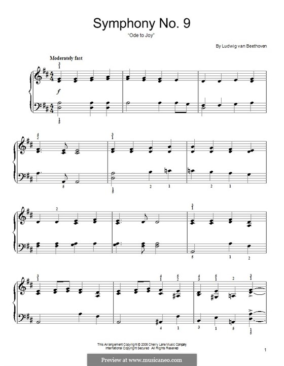 Ode to Joy, for Piano: versão facil para piano by Ludwig van Beethoven