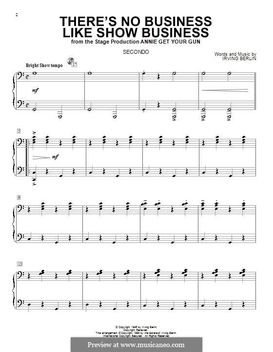 There's No Business Like Show Business (Ethel Merman): para piano de quadro mãos by Irving Berlin