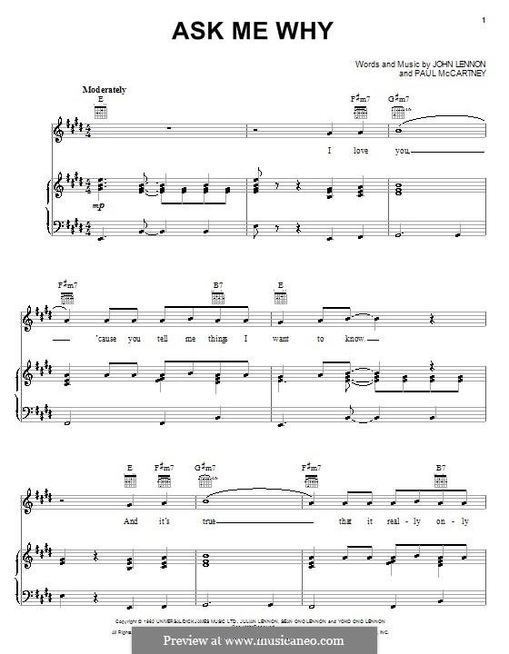 Ask Me Why (The Beatles): Para vocais e piano (ou Guitarra) by John Lennon, Paul McCartney