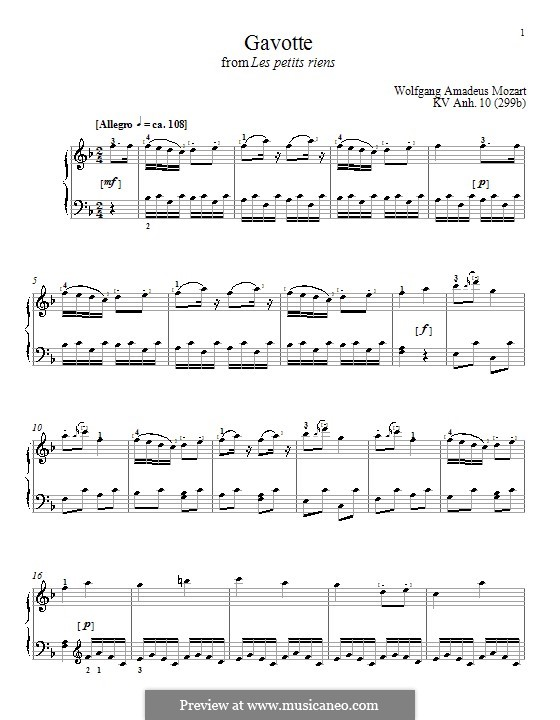 Les petits riens, K.299b: Gavotte, para piano by Wolfgang Amadeus Mozart