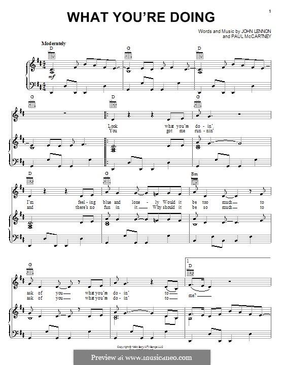 What You're Doing (The Beatles): Para vocais e piano (ou Guitarra) by John Lennon, Paul McCartney