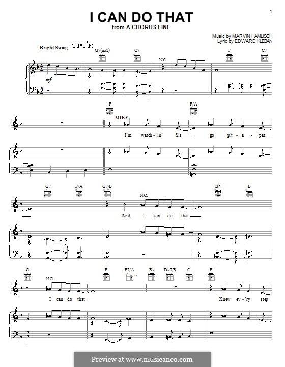 I Can Do That (from A Chorus Line): Para vocais e piano (ou Guitarra) by Marvin Hamlisch