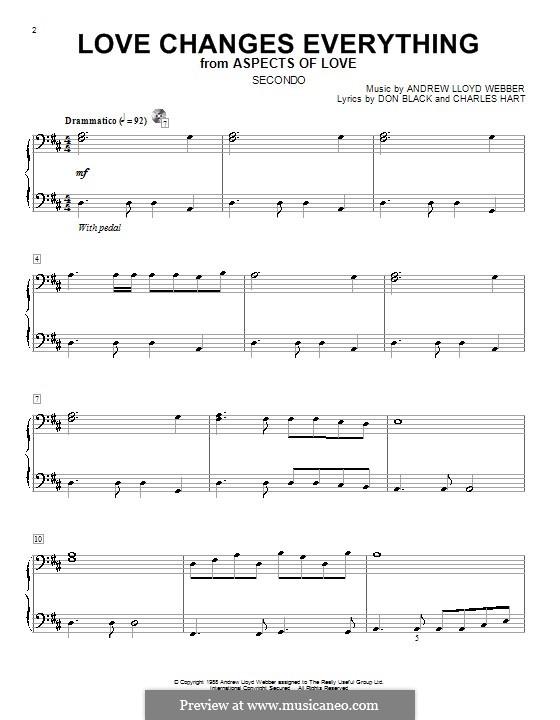 Love Changes Everything: para piano de quadro mãos by Andrew Lloyd Webber