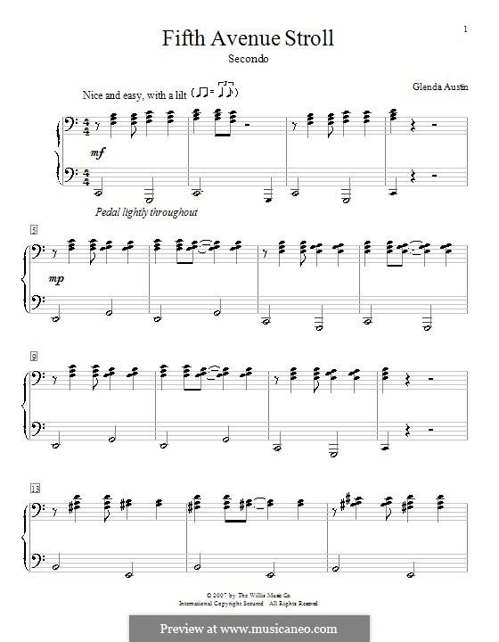 Fifth Avenue Stroll: para piano de quadro mãos by Glenda Austin