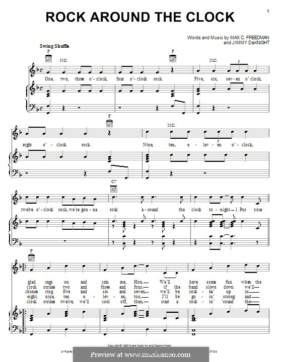 Rock Around the Clock (Bill Haley and His Comets): Para vocais e piano (ou Guitarra) by Jimmy DeKnight, Max C. Freedman