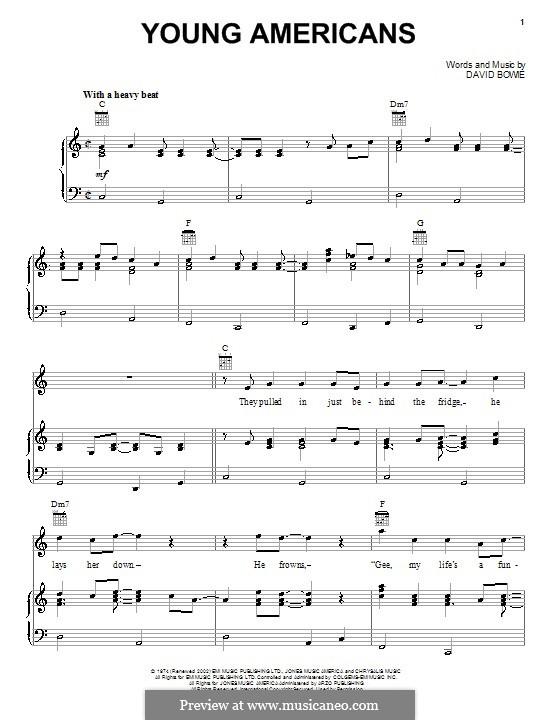 Young Americans: Para vocais e piano (ou Guitarra) by David Bowie