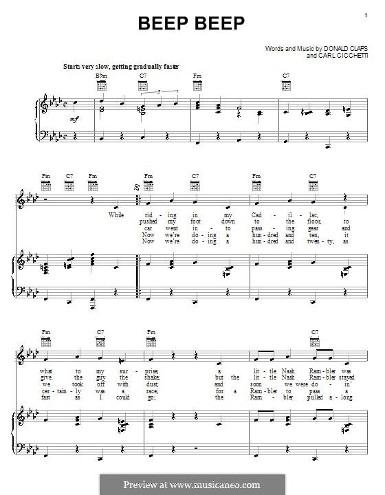 Beep Beep (The Playmates): Para vocais e piano (ou Guitarra) by Carl Cicchetti, Donald Claps