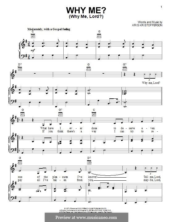 Why Me? (Why Me, Lord?): Para vocais e piano (ou Guitarra) by Kris Kristofferson