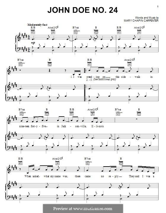 John Doe No.24: Para vocais e piano (ou Guitarra) by Mary Chapin Carpenter