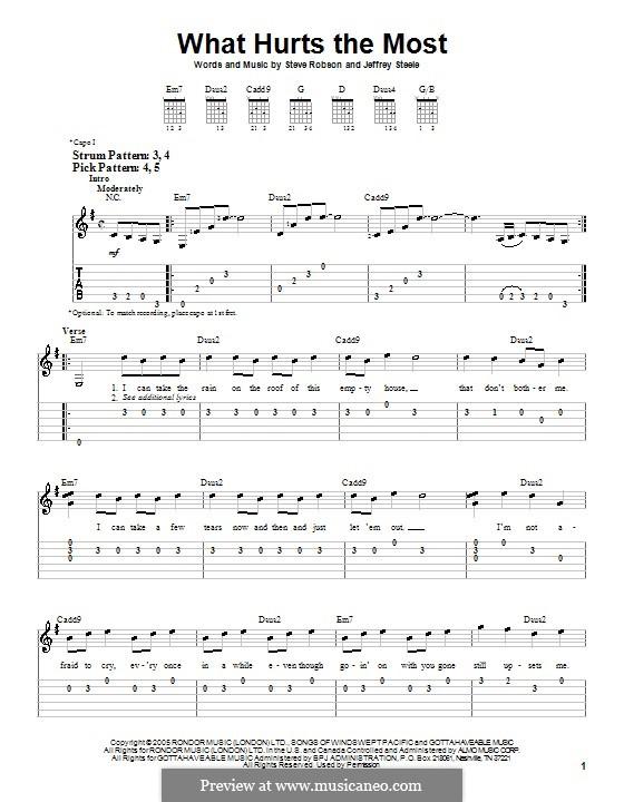 What Hurts the Most (Rascal Flatts): Para guitarra (versão facil) by Jeffrey Steele, Steve Robson