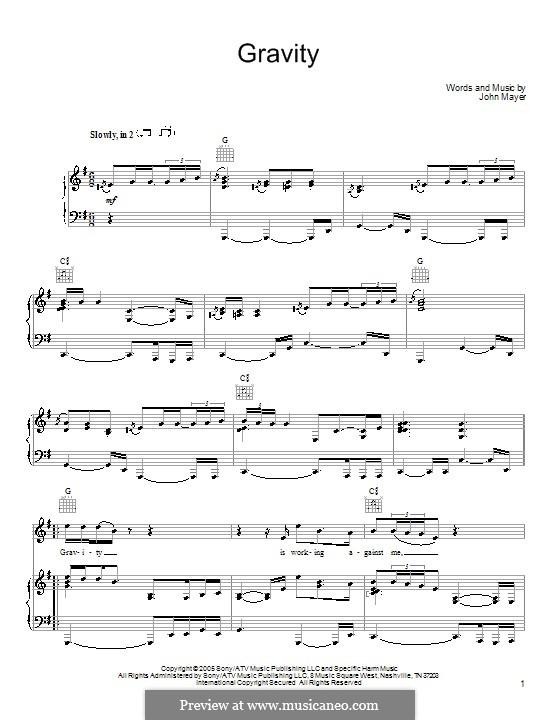Gravity: Para vocais e piano (ou Guitarra) by John Mayer